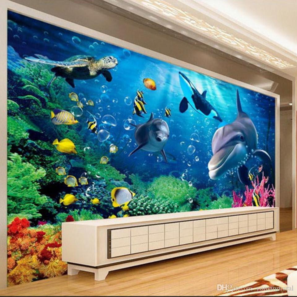 Custom Large MuralsSpace Extends 3 D Undersea World Of Lovely