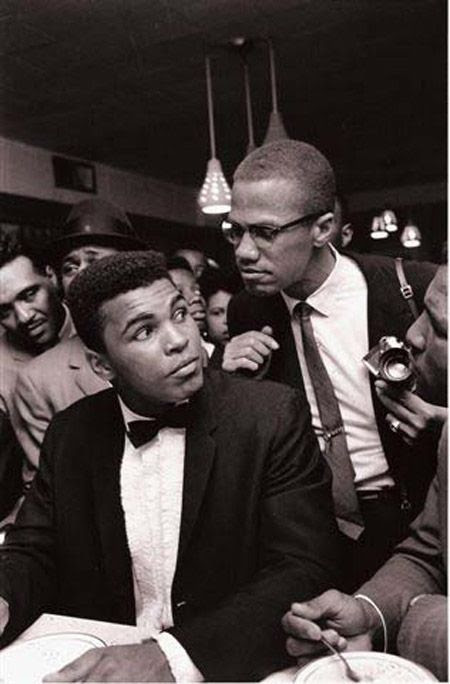 """Ali and X - """"Turning my back on Malcolm was one of the mistakes that I regret most in my life. I wish I'd been able to tell Malcolm I was sorry, that he was right about so many things. But he was killed before I got the chance. He was a visionary ahead of us all"""" - Muhammad Ali"""