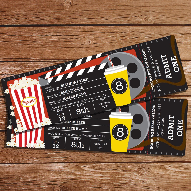 Movie Party Invitation Movie Ticket Invitation Instant by ...