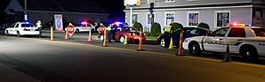 English: A sobriety checkpoint in East Haven, ...