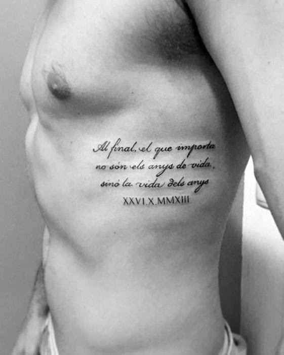 40 Rib Quote Tattoo Designs For Men Reminder Ink Ideas