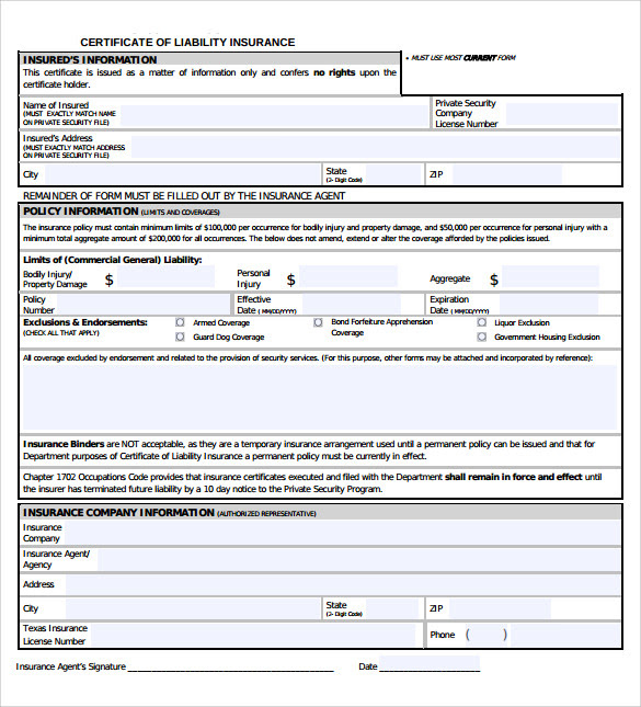 Certificate Of Insurance Template - 14+ Download Free ...