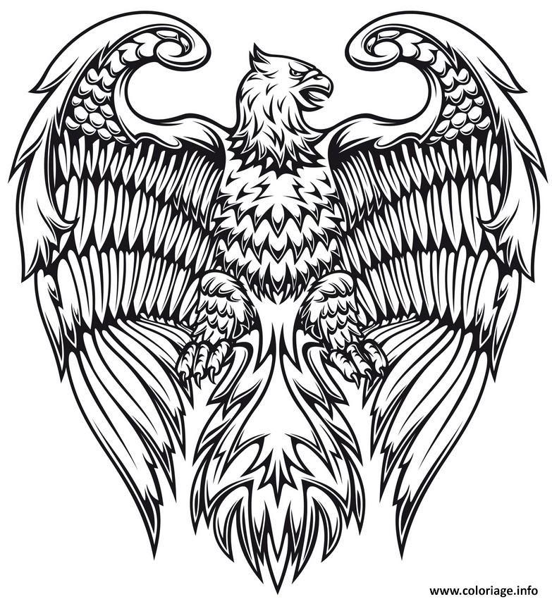 Coloriage Adulte Animaux Fantastiques Aigle Oiseau Jecoloriecom