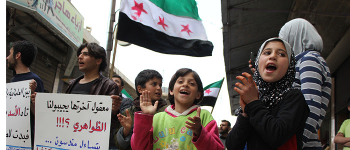 Activists rally in Kafranbel, Syria. (Courtesy - Shiyam Galyon)