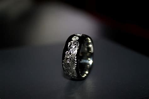 custom made mens wedding ring in 19k white gold   Monica
