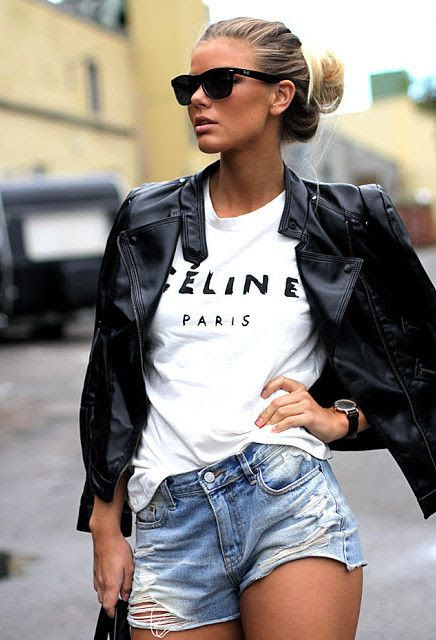 37 Fashionable Combinations With Shorts celine white t with ripped denim shorts and black leather jacket ♥  GG's tiny times