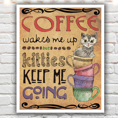 Kitties Coffee 16 X 20 Paper Print Coffee Cup Print Kitchen