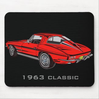 Classic 1963 Red Corvette Design Mousepad