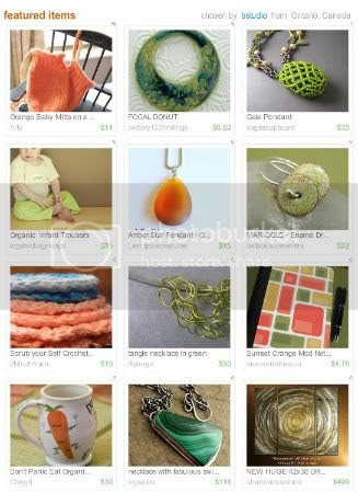 Coral and Chartreuse Treasury by bstudio.etsy.com