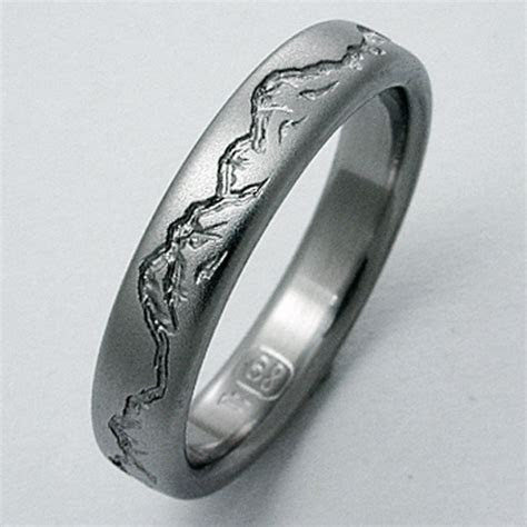 Montana 2 titanium ring with mountains   Titanium Wedding