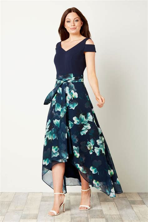 Floral Print Cold Shoulder Maxi Dress in Navy   Roman