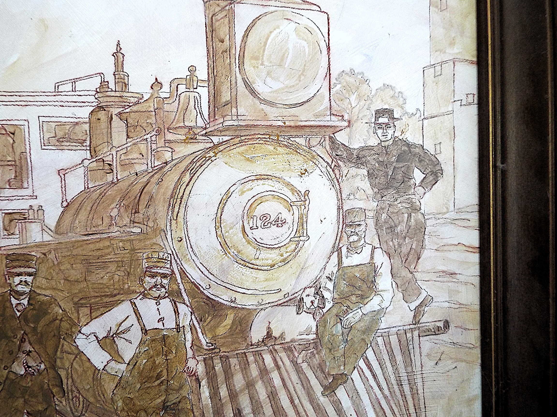 CPRR steam engine #124 pulling an emigrant train through Trotwood Ohio