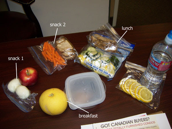 Chelle's cooler today - 1280 calories not including dinner.