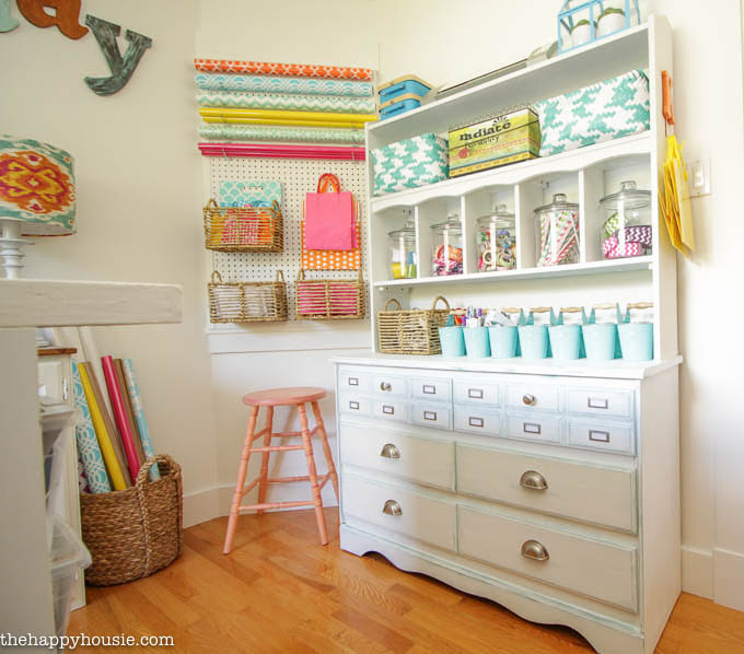 Colourful Cheery Craft Room Tour at thehappyhousie.com-19
