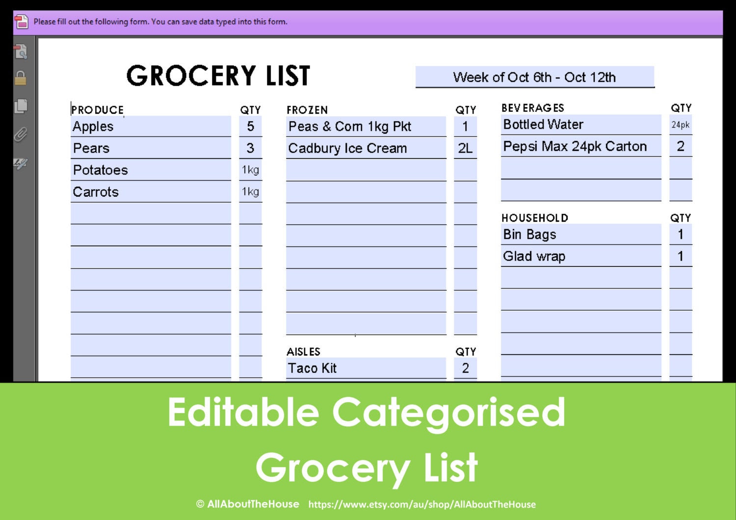 Printable Grocery List Editable Categorised Shopping by ...
