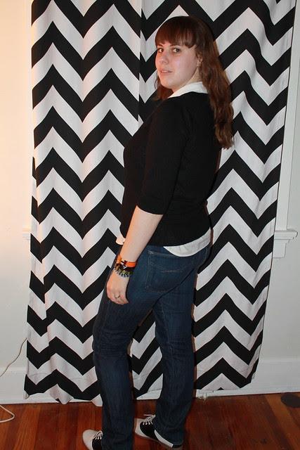 Ribbon tie outfit: straight-leg Gap jeans, V-neck sweater, Ralph Lauren shirt, ribbon bow tie, vintage saddle oxfords