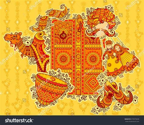 Vector Design Culture Rajasthan Indian Art Stock Vector