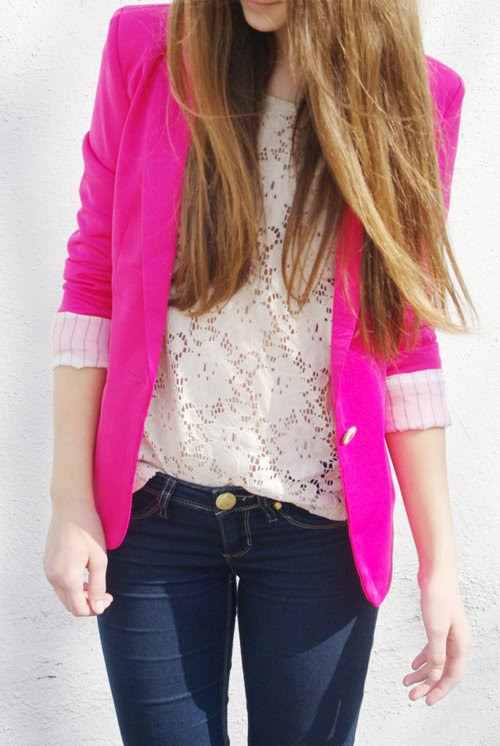 neon pink blazers for the following spring that si just