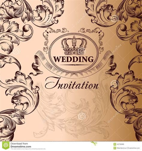 Wedding Invitation Card In Vintage Style Stock Vector