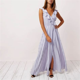 Lilac stripe frill wrap maxi dress   Dresses   Sale   women