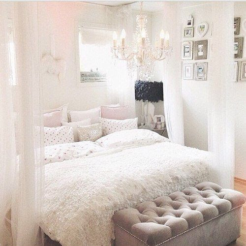Interior, white, romantic, bedroom, bed, curtains