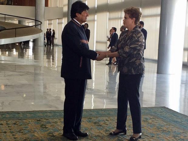 O presidente da Bolívia, Evo Morales, é recebido pela presidente Dilma Rousseff no Palácio do Planalto (Foto: Filipe Matoso/G1)