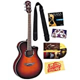 Yamaha APX500FM Old Violin Sunburst Flamed Maple Top Acoustic-Electric Guitar Bundle with DVD, Picks, Strap, Strings...