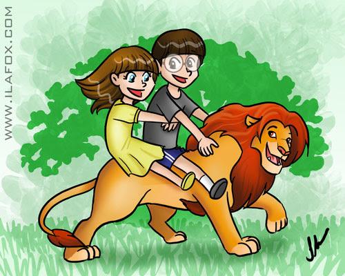 Ilustração Animal Kingdon, em cima do Simba, Disney, Ila Fox e Ricbit