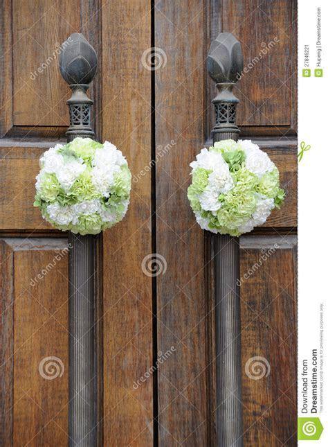 Wedding Flowers On The Church Door Stock Image   Image