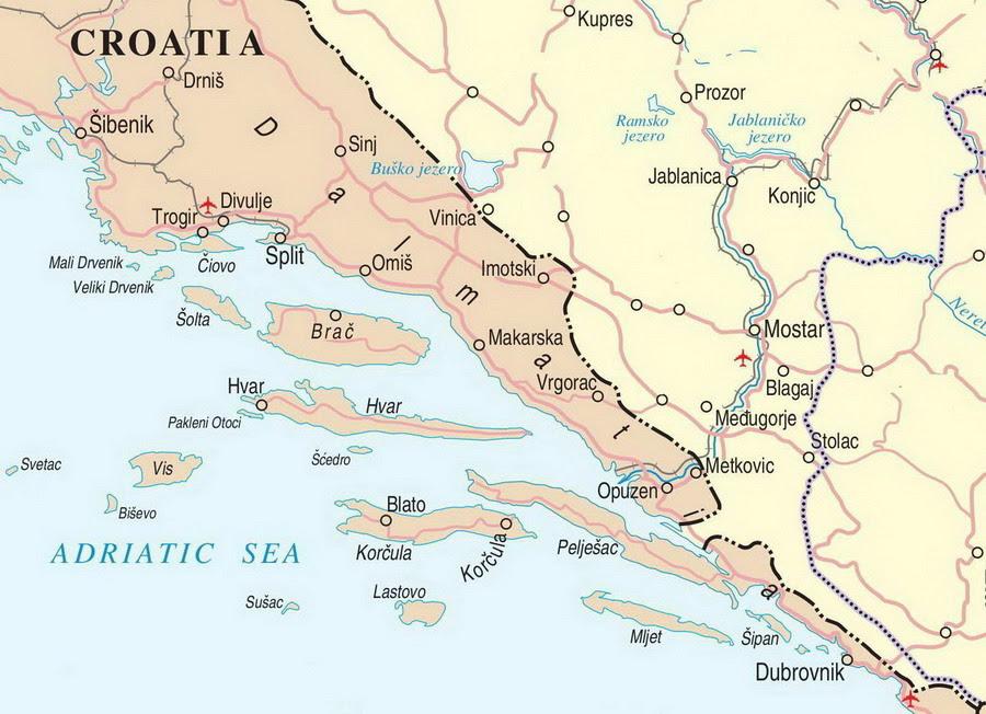Dalmacija Karta Mapa   karta