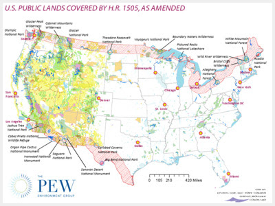 Photo courtesy of the PEW environmental group: U.S. public lands covered by HR 1505