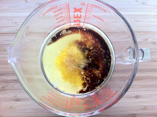 Sour Cream, Oil, Lemon Zest, Vanilla and Salt in Measuring Cup