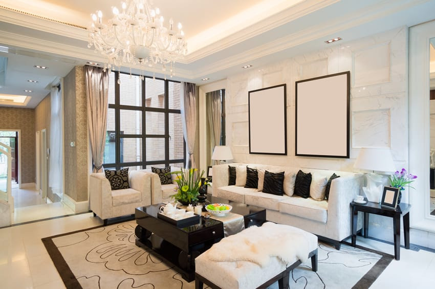 luxury home living room tray ceiling