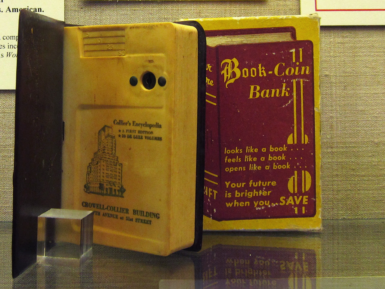 """Crowell, Collier and McMillan, """"Your Future"""" (1950s-60s), a child's book-coin bank"""