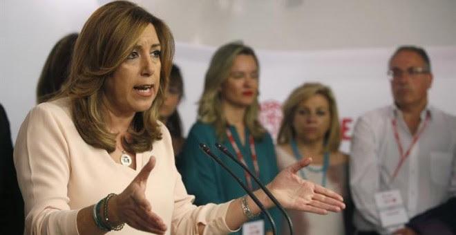 La presidenta de la Junta de Andalucía, Susana Díaz, comparece en Ferraz tras conocer los resultados de las primarias para la Secretaría General del PSOE. - EFE