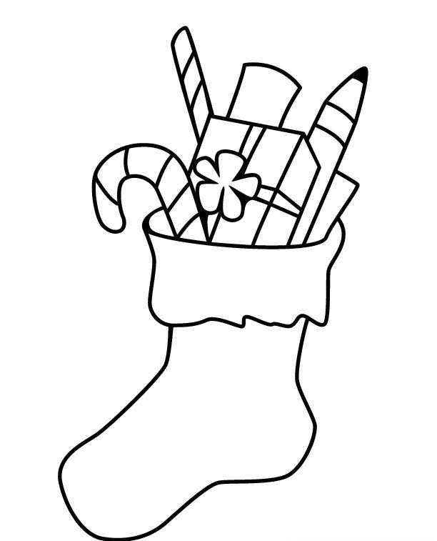 Yeni Yıl Simgesi çorap Boyama Sayfaları Okul öncesi Eğitici