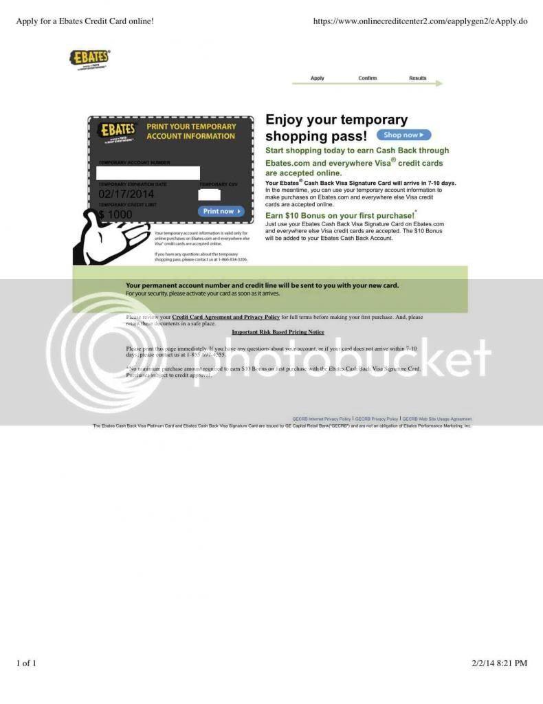 Finally Got Approved Ebates Visa Signature Card Credit Forum