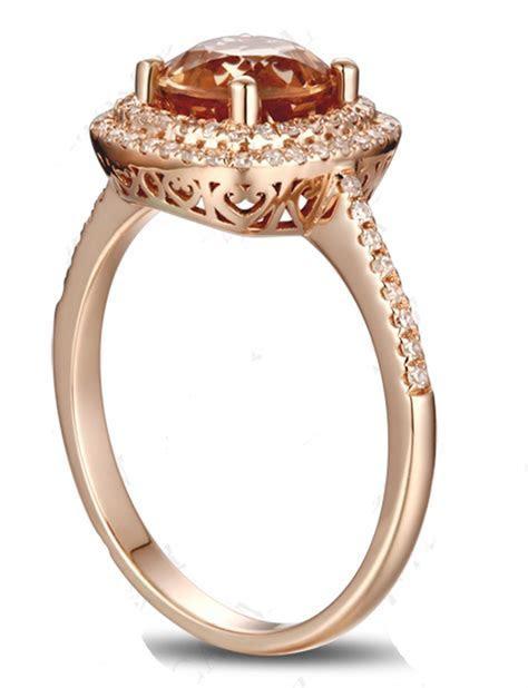 Luxurious 2 Carat Double Halo Morganite and Diamond Rose