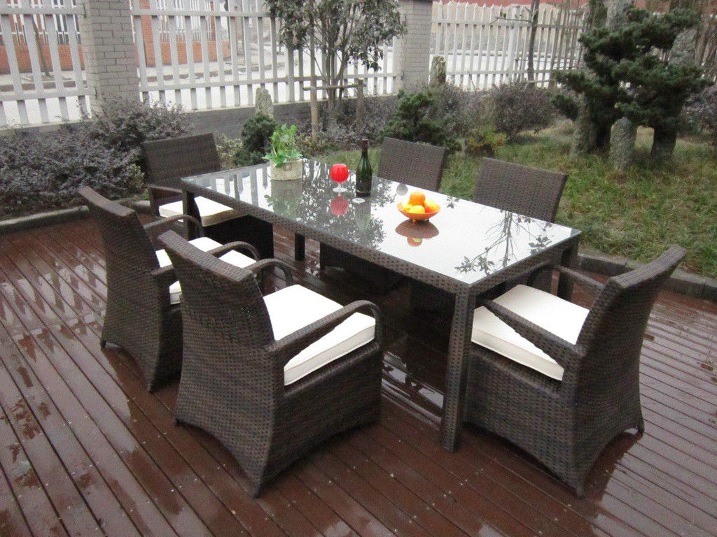Rattan Garden Dining Sets , Washable Resin Wicker Patio ...