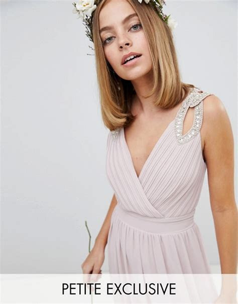 TFNC Petite Wrap Front Maxi Bridesmaid Dress With