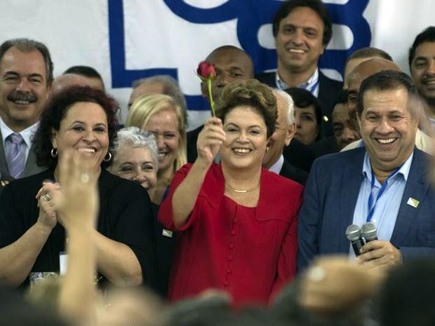 Dilma prestigia convenção nacional do PDT que oficializou apoio a sua tentativa de reeleição (Foto: Marcelo Camargo/Agência Brasil)