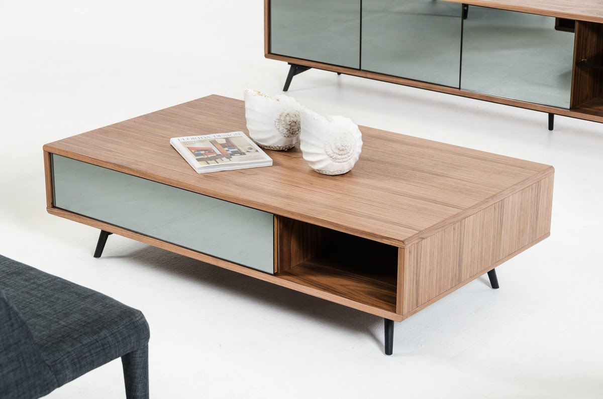 walnut mirrored glass coffee table v kennedy