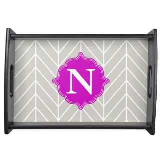 Gray + Neon Purple Monogram Herringbone Tray Food Trays