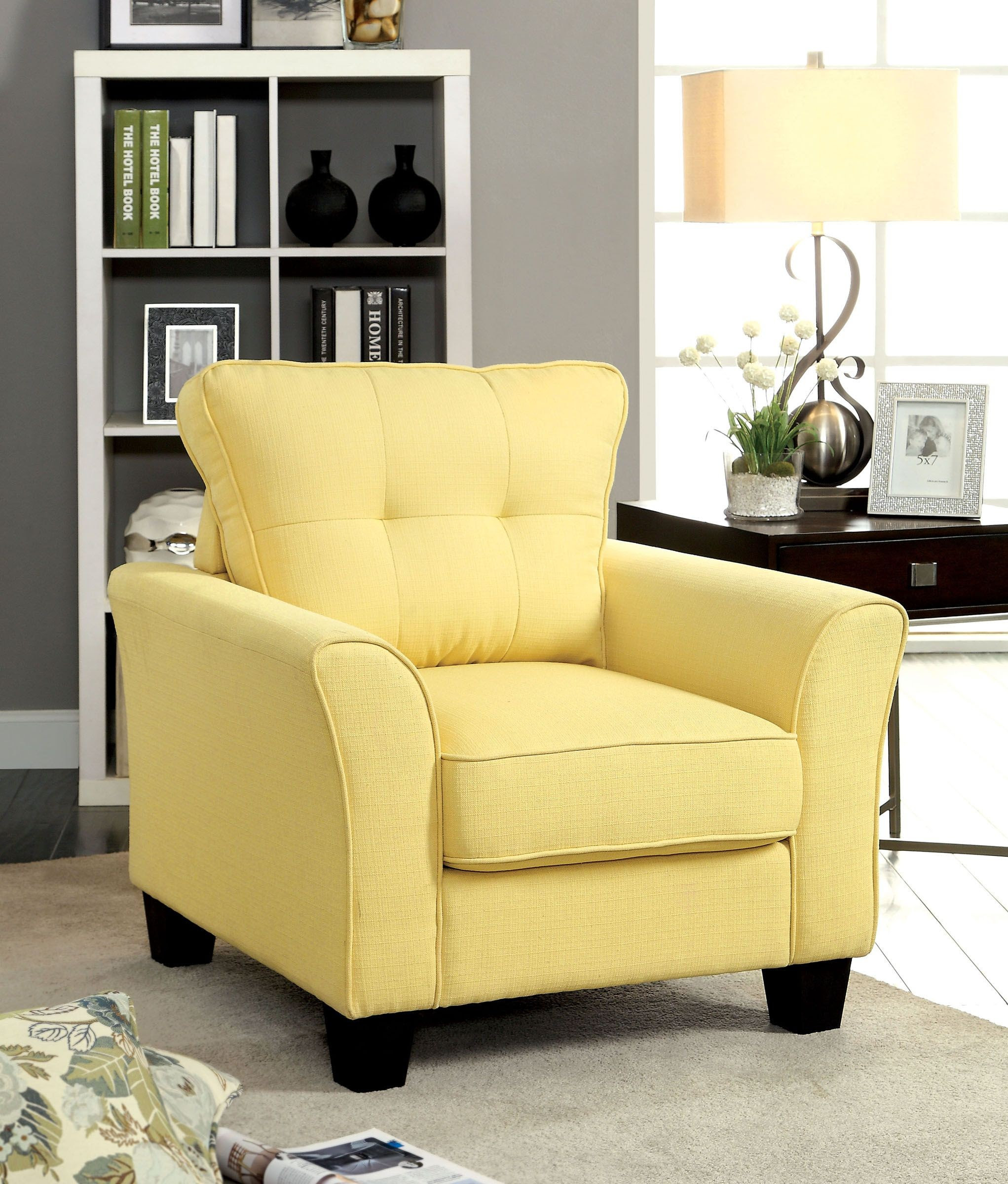 Claire Yellow Fabric Living Room Set from Furniture of ...