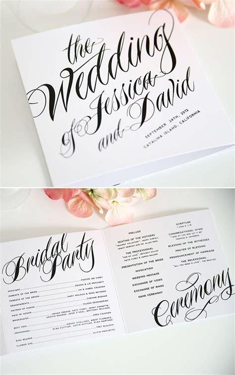 Ravishing Script Wedding Ceremony Programs   Invitations