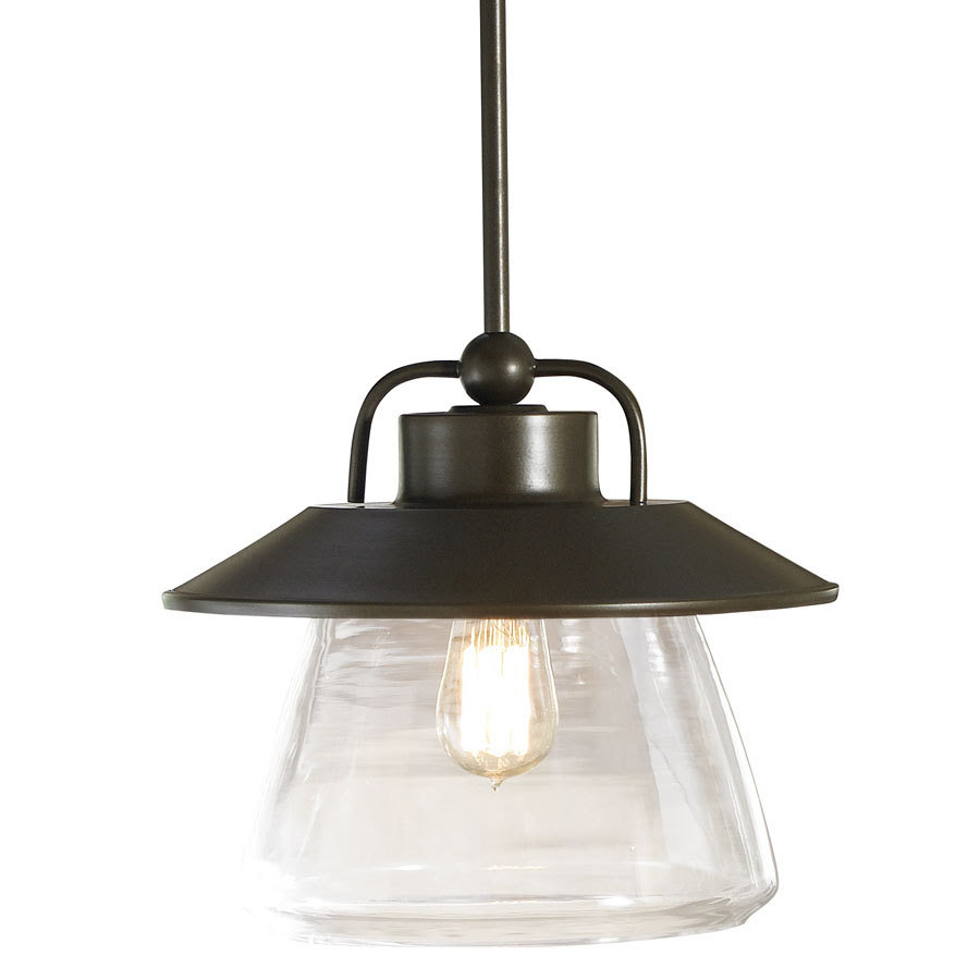 Shop allen + roth Bristow 12in W Mission Bronze Pendant Light with Clear Glass Shade at Lowes.com