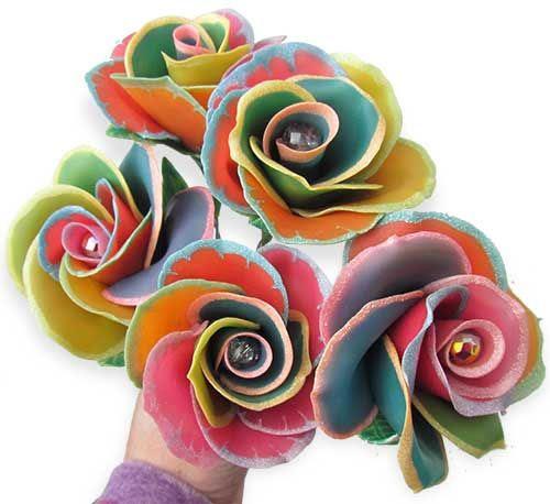 Polymer rainbow roses
