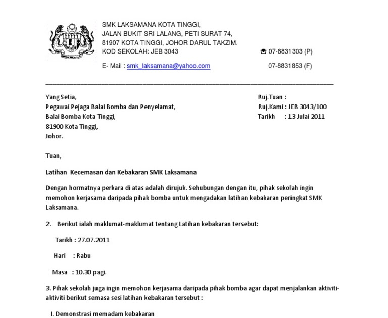 Surat Rasmi Berhenti Taska Muharram Q