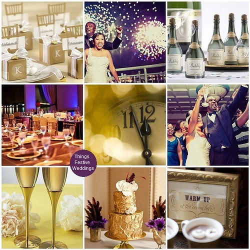 Wedding Reception Ideas For Older Couples: New Year's Eve Wedding In Purple & Gold