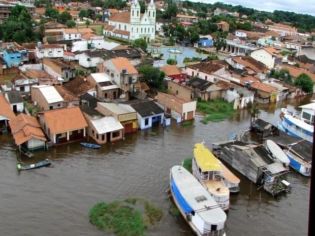 Alenquer foi uma das primeiras cidades a decretar situação de emergência (Foto: Divulgação Graesp e 4ª Redec)